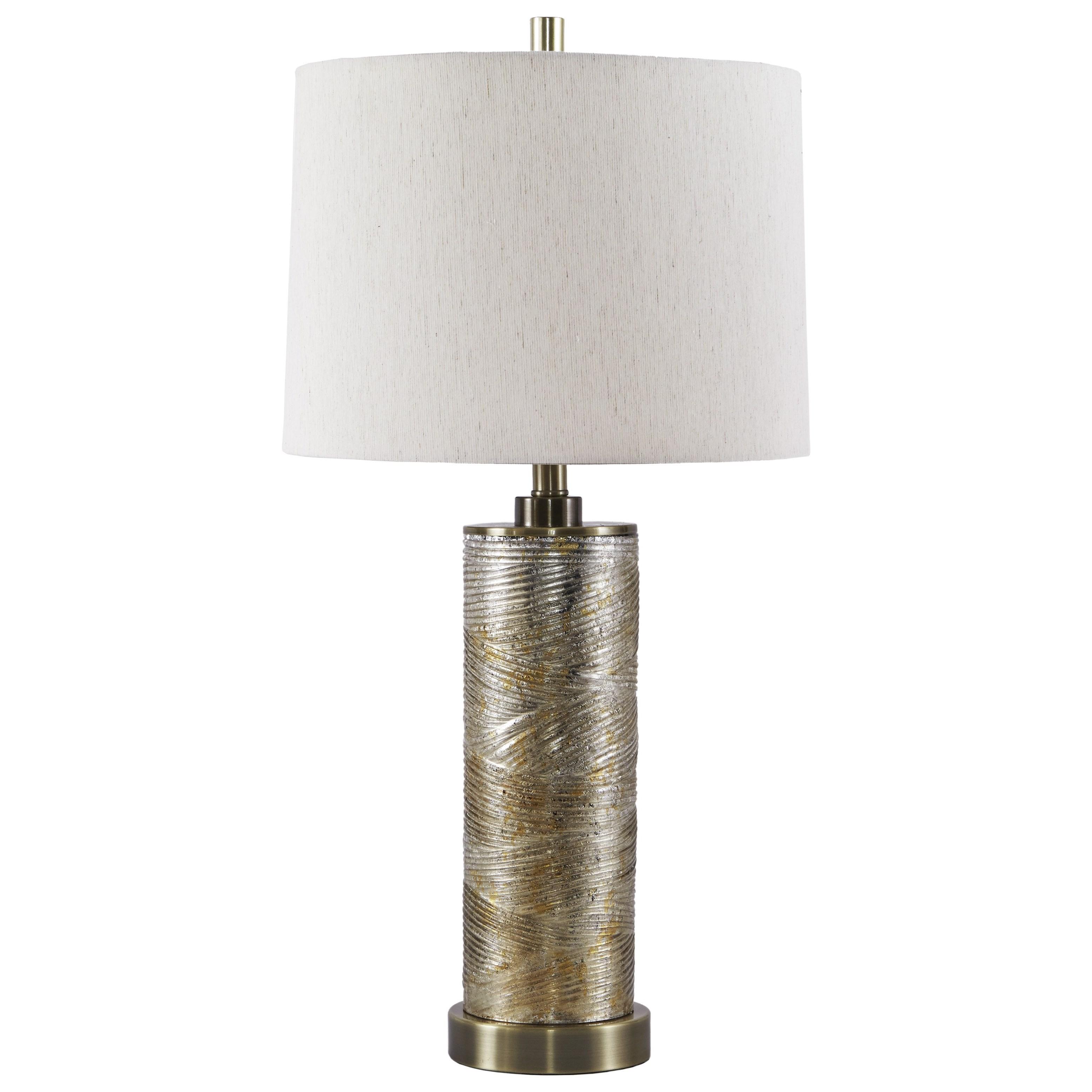Signature Design By Ashley Lamps   ContemporaryFarrar Gold Finish Glass  Table Lamp ...