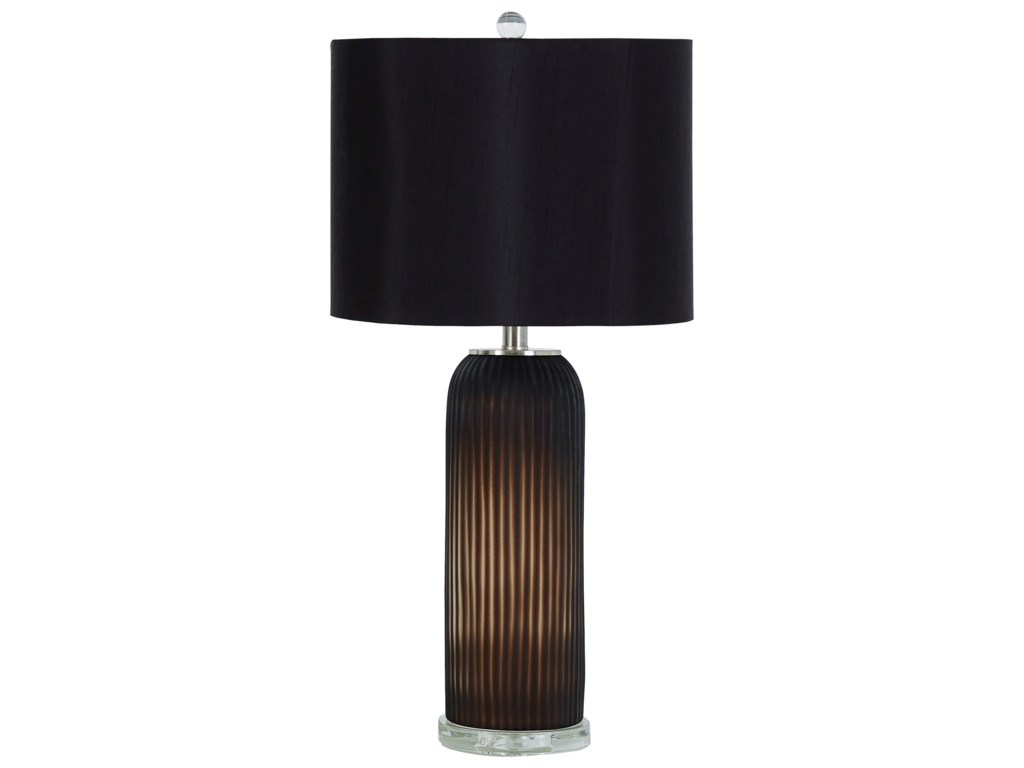 Signature Design by Ashley Lamps - ContemporarySet of 2 Abaness Black Glass Table Lamps