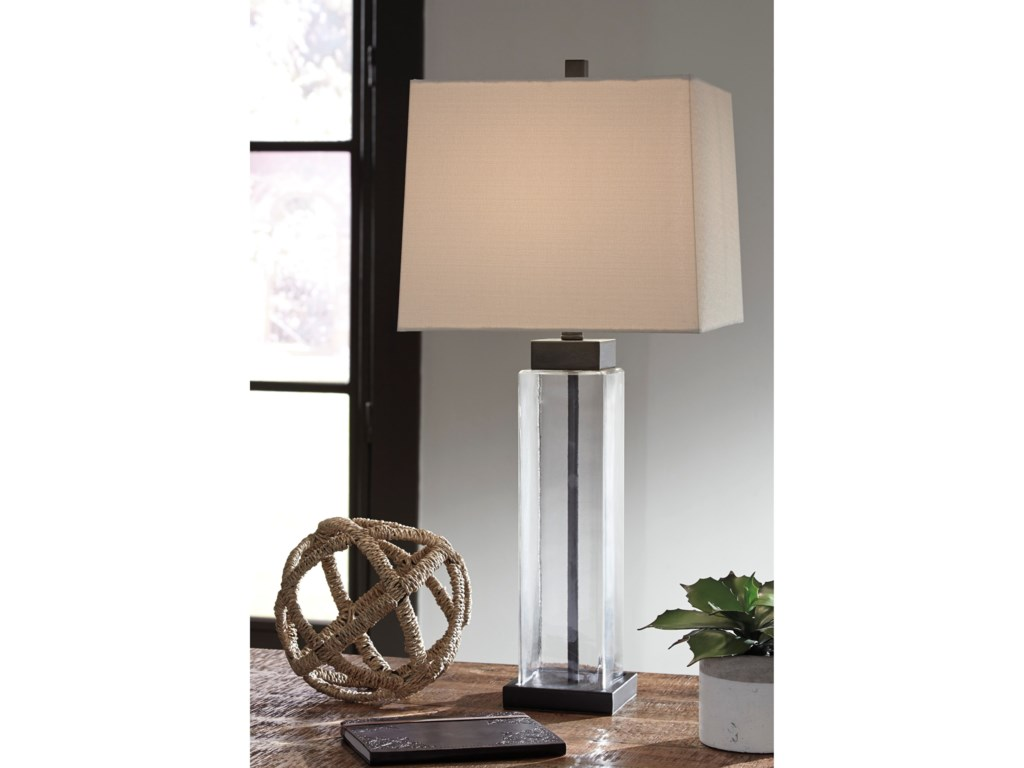 Signature Design by Ashley Lamps - ContemporarySet of 2 Alvaro Glass Table Lamps