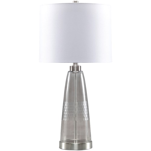 Signature Design by Ashley Lamps - Contemporary Larrance Gray Glass Table Lamp