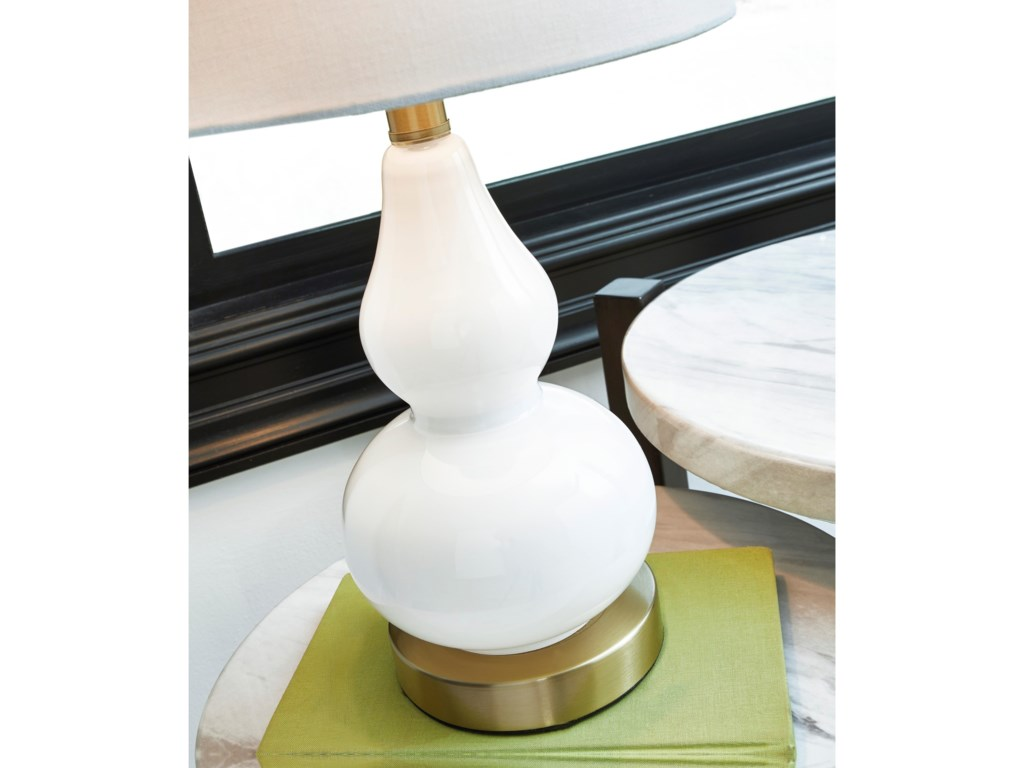 Signature Design by Ashley Lamps - ContemporaryMakana White/Brass Glass Table Lamp