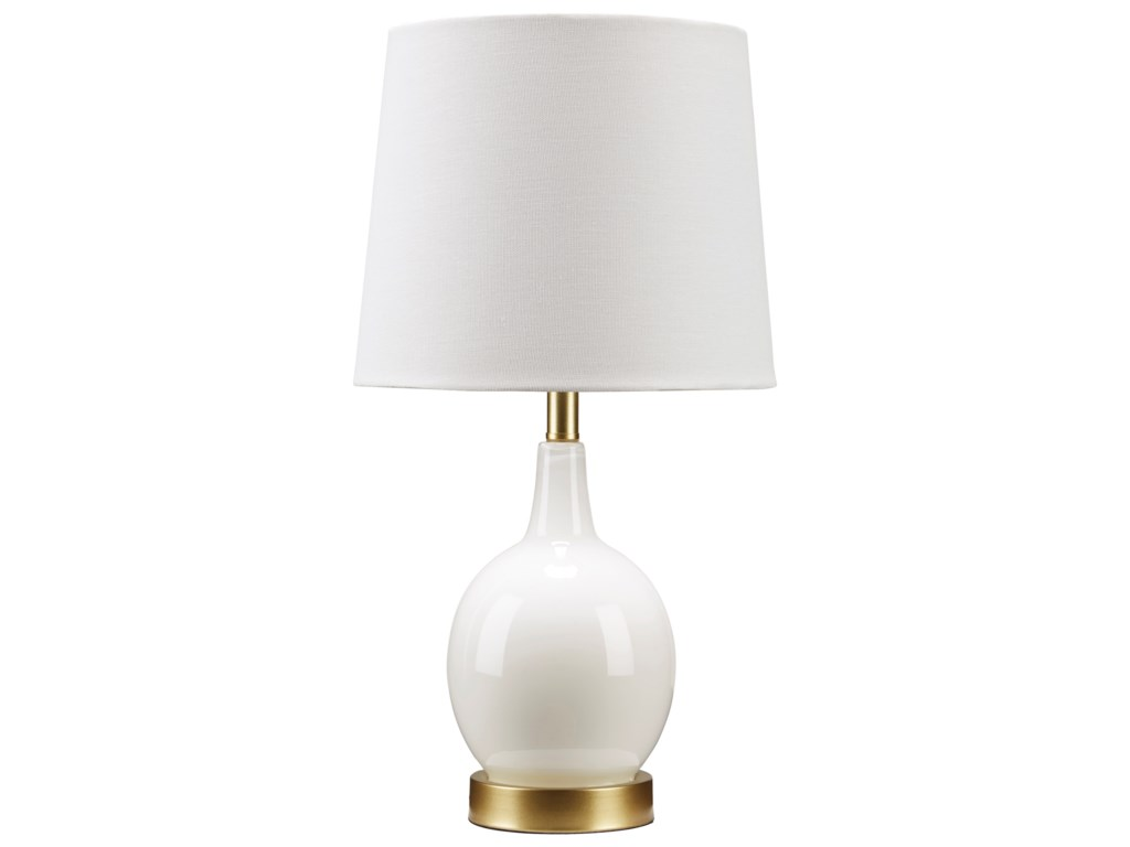 Signature Design by Ashley Lamps - ContemporaryArlomore White Glass Table Lamp