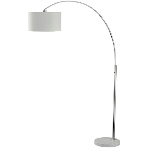 Signature Design by Ashley Lamps - Contemporary Areclia Metal Arc Lamp with White Marble Base