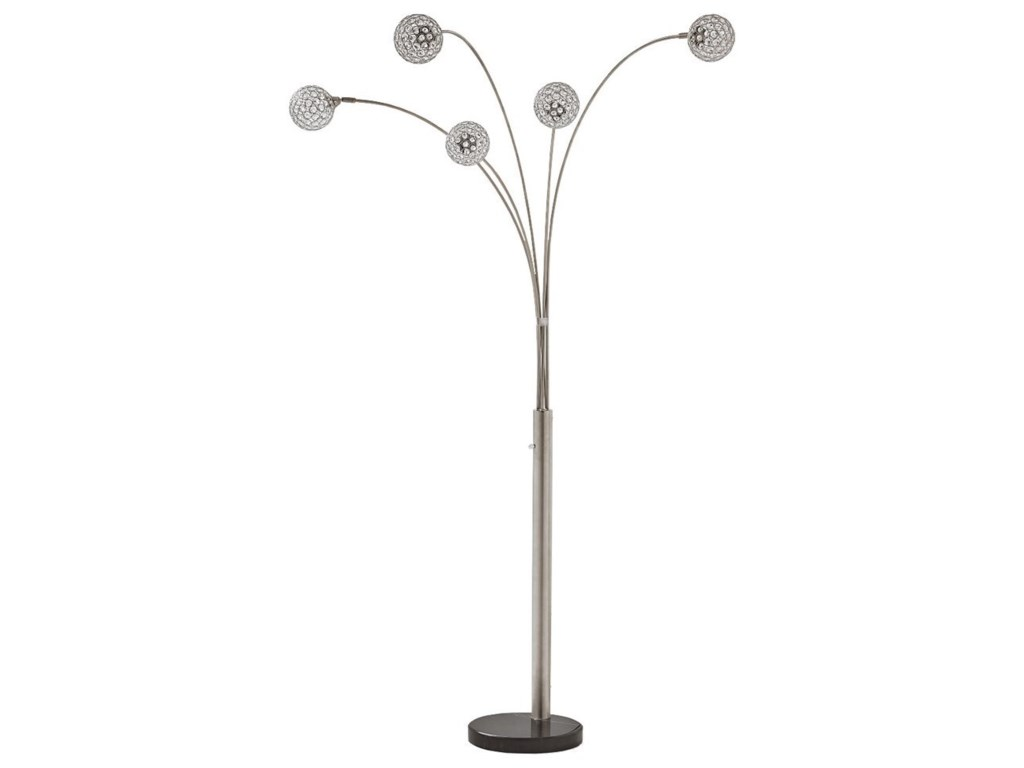 Signature Design by Ashley Lamps - ContemporaryWinter Silver Finish Metal Arc Lamp
