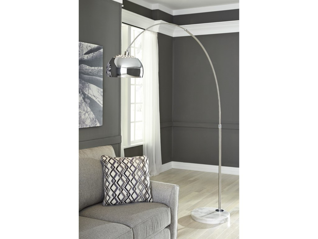 Signature Design by Ashley Lamps - ContemporaryOsasco Silver Finish Metal Arc Lamp
