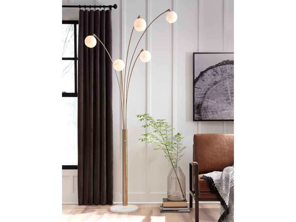 Signature Design by Ashley Lamps - ContemporaryTaliya Champagne/White Metal Arc Lamp