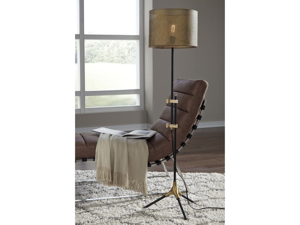 Signature Design by Ashley Lamps - ContemporaryMance Gray/Brass Finish Metal Floor Lamp