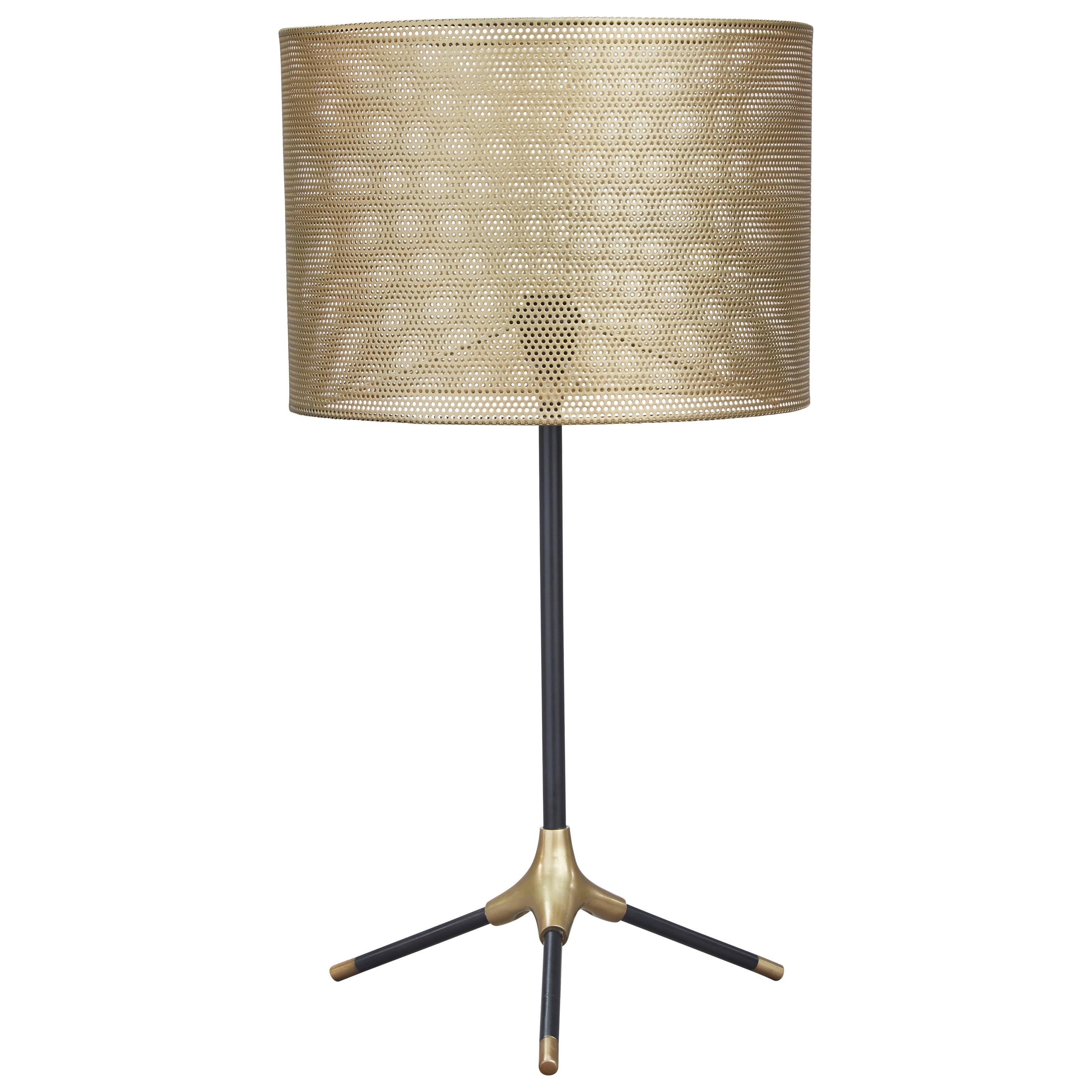 Mance Gray/Brass Finish Metal Table Lamp