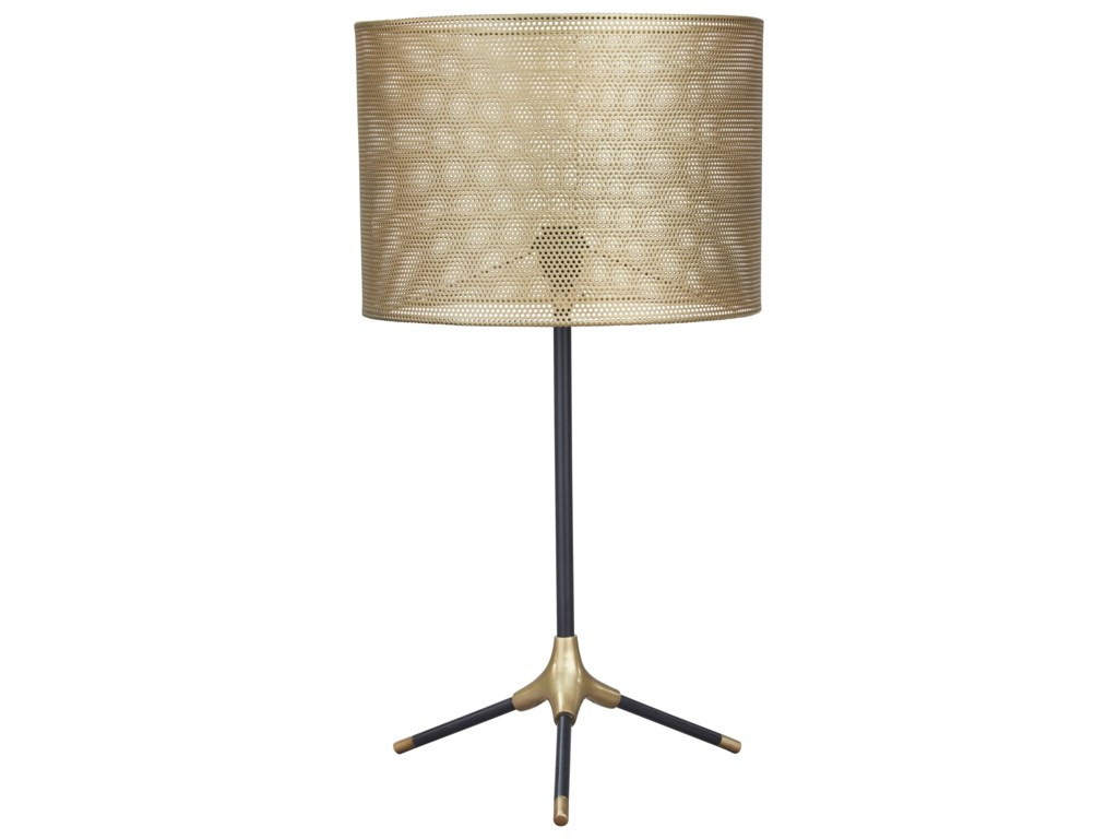Signature Design by Ashley Lamps - ContemporaryMance Gray/Brass Finish Metal Table Lamp