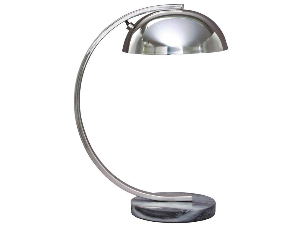Signature Design by Ashley Lamps - ContemporaryHaden Chrome Finish Metal Desk Lamp