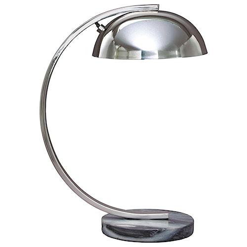 Signature Design by Ashley Lamps - Contemporary Haden Chrome Finish Metal Desk Lamp