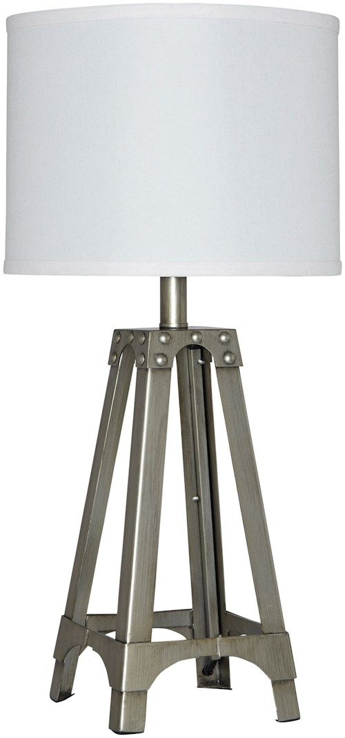 Signature Design by Ashley Lamps - Contemporary Arty Silver Finish Metal Table Lamp
