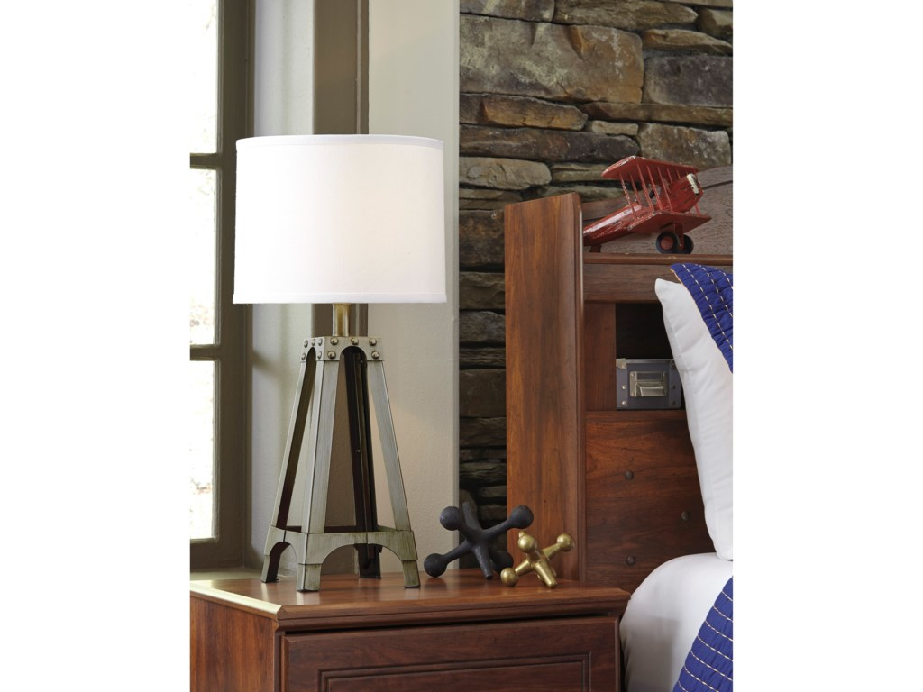 Signature Design by Ashley Lamps - ContemporaryArty Silver Finish Metal Table Lamp