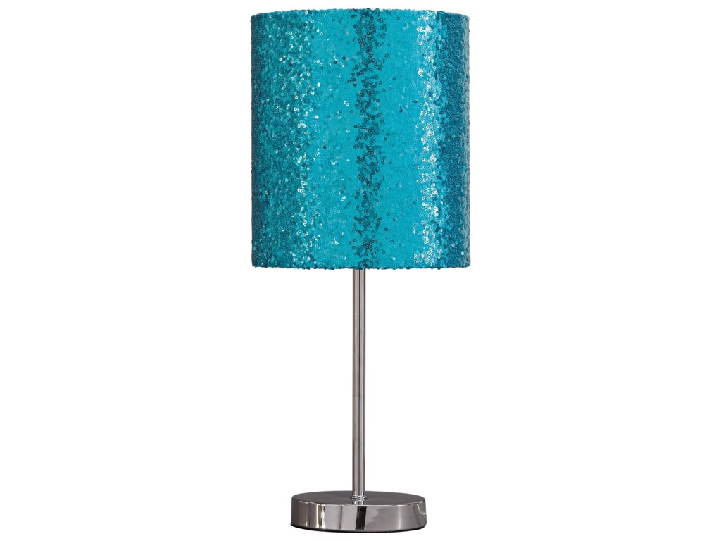 Signature Design by Ashley Lamps - ContemporaryMaddy Teal/Silver Finish Metal Table Lamp