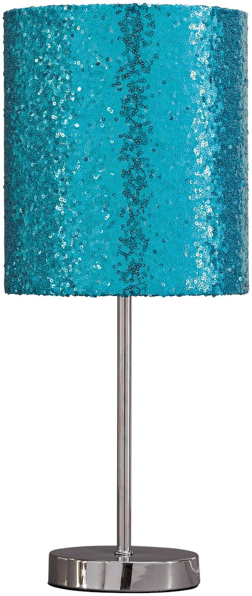 Signature design by ashley lamps contemporary maddy teal silver finish metal table lamp