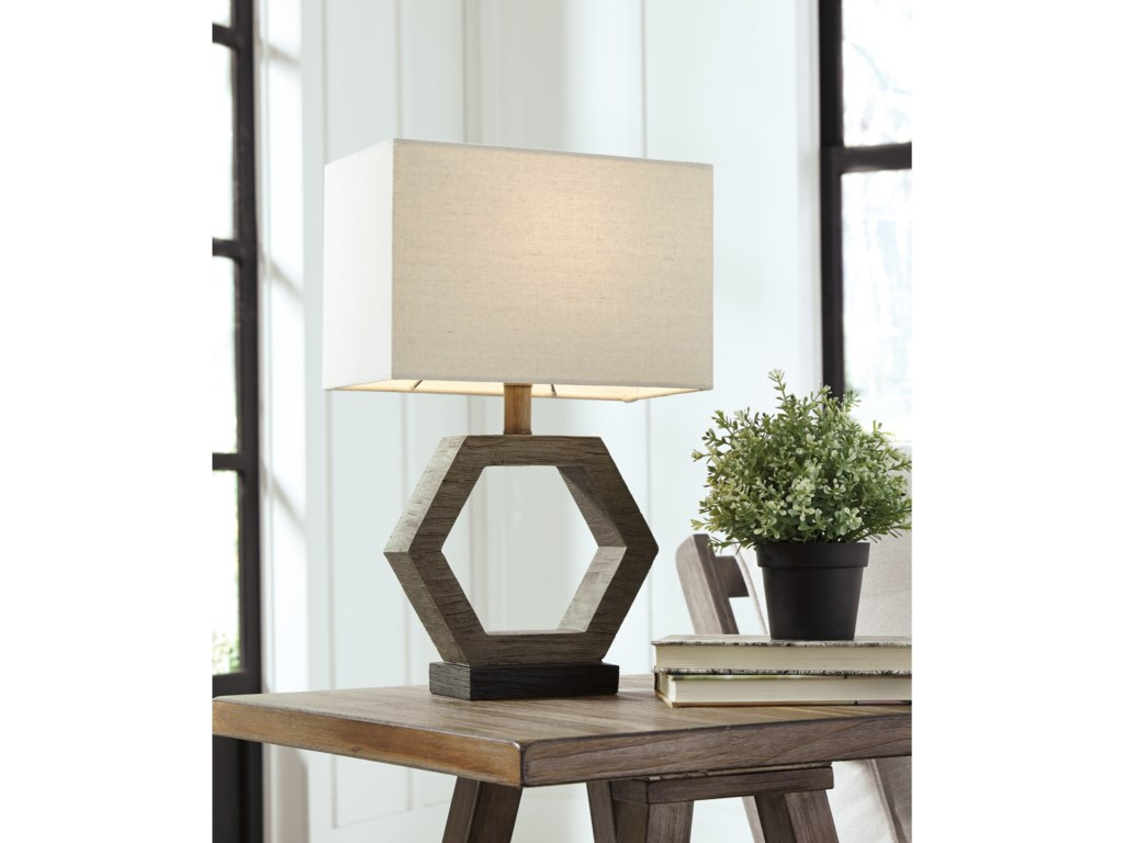 Signature Design by Ashley Lamps - ContemporaryMarilu Faux Wood Table Lamp
