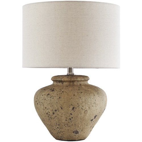 Signature Design by Ashley Lamps - Vintage Style Mahfuz Beige Ceramic Table Lamp