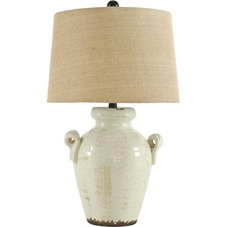 Emelda Cream Ceramic Table Lamp