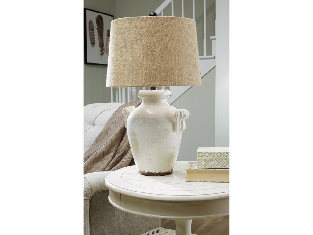 Signature Design by Ashley Lamps - Vintage StyleEmelda Cream Ceramic Table Lamp