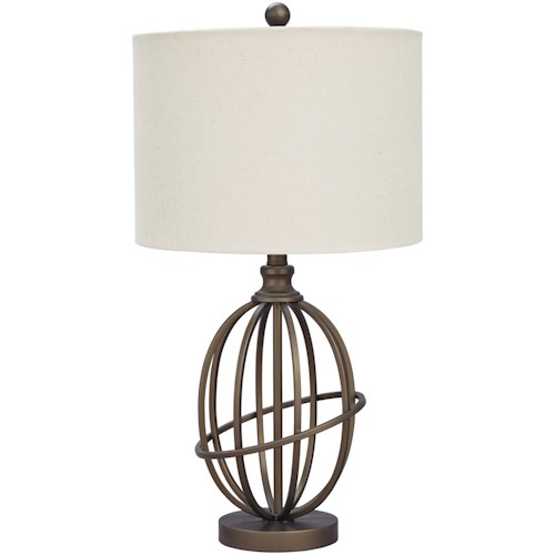 Signature Design By Ashley Lamps Vintage Style Manase Bronze Finish Metal Table Lamp