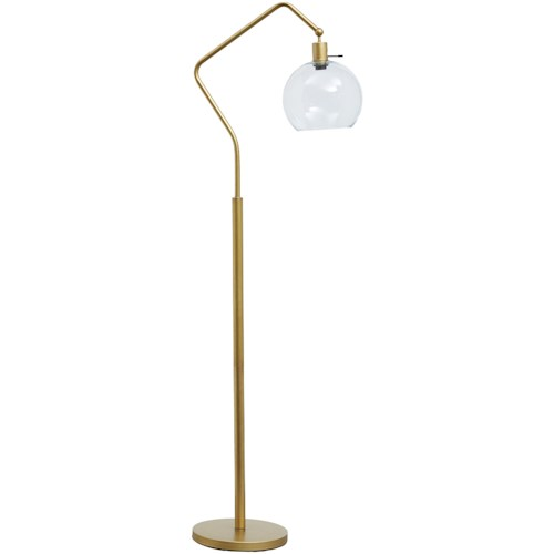 Signature Design by Ashley Lamps - Vintage Style Marilee Antique Brass Finish Metal Floor Lamp