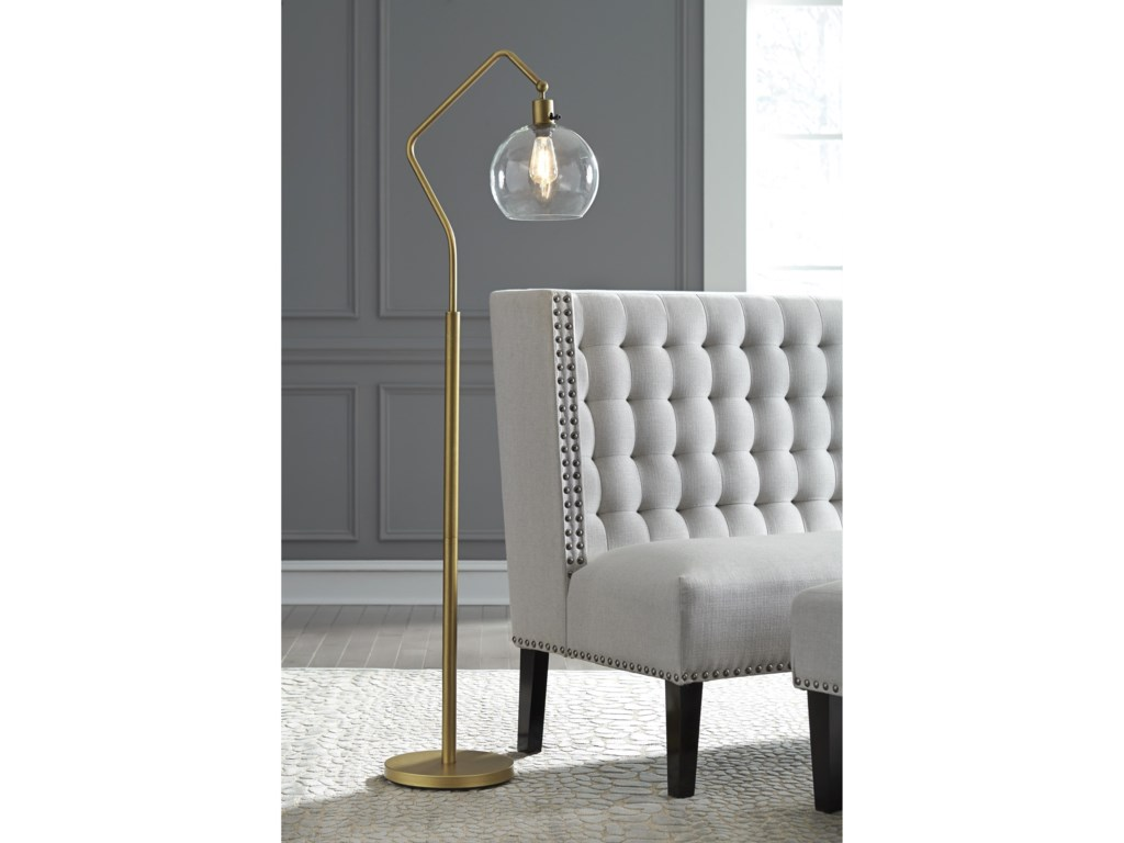 Signature Design by Ashley Lamps - Vintage StyleMarilee Antique Brass Metal Floor Lamp