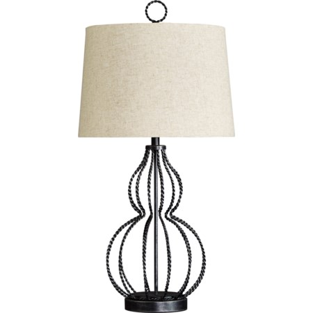 Linora Antique Gray Metal Table Lamp