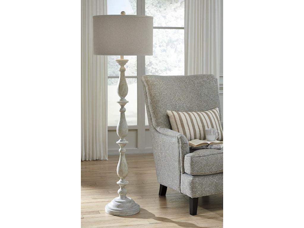 Signature Design By Ashley Lamps Vintage Stylebernadate Whitewash Floor Lamp