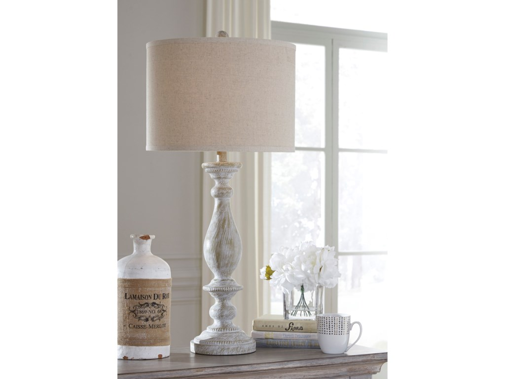 Signature Design by Ashley Lamps - Vintage StyleSet of 2 Bernadate Whitewash Table Lamps