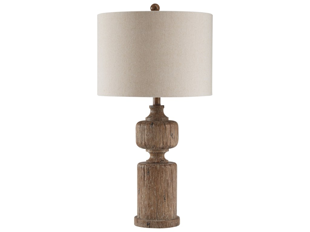 Trendz Lamps - Vintage StyleMadelief Brown Faux Wood Table Lamp