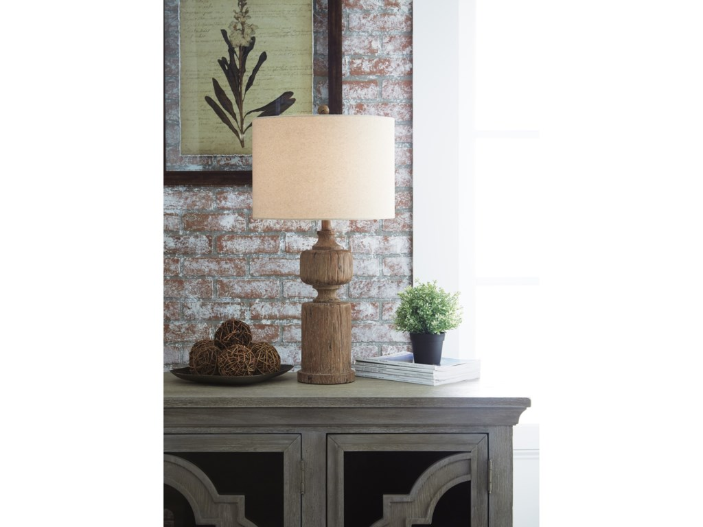 Signature Design by Ashley Lamps - Vintage StyleMadelief Brown Faux Wood Table Lamp