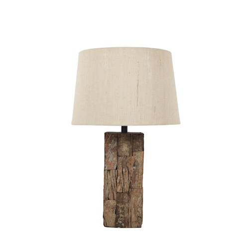 Signature Design by Ashley Lamps - Vintage Style Selemah Light Brown Reclaimed Wood Table Lamp