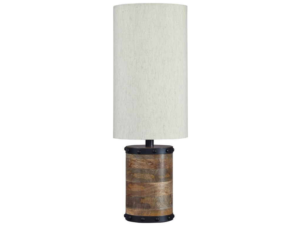 Signature design by ashley lamps vintage style l327194 ian signature design by ashley lamps vintage style l327194 ian natural wood table lamp household furniture table lamps geotapseo Choice Image