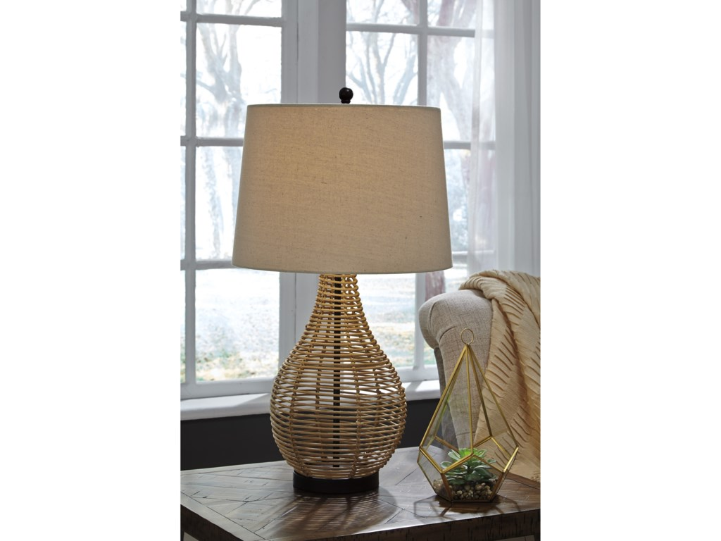 Signature Design by Ashley Lamps - Vintage StyleSet of 2 Erwin Rattan Table Lamps