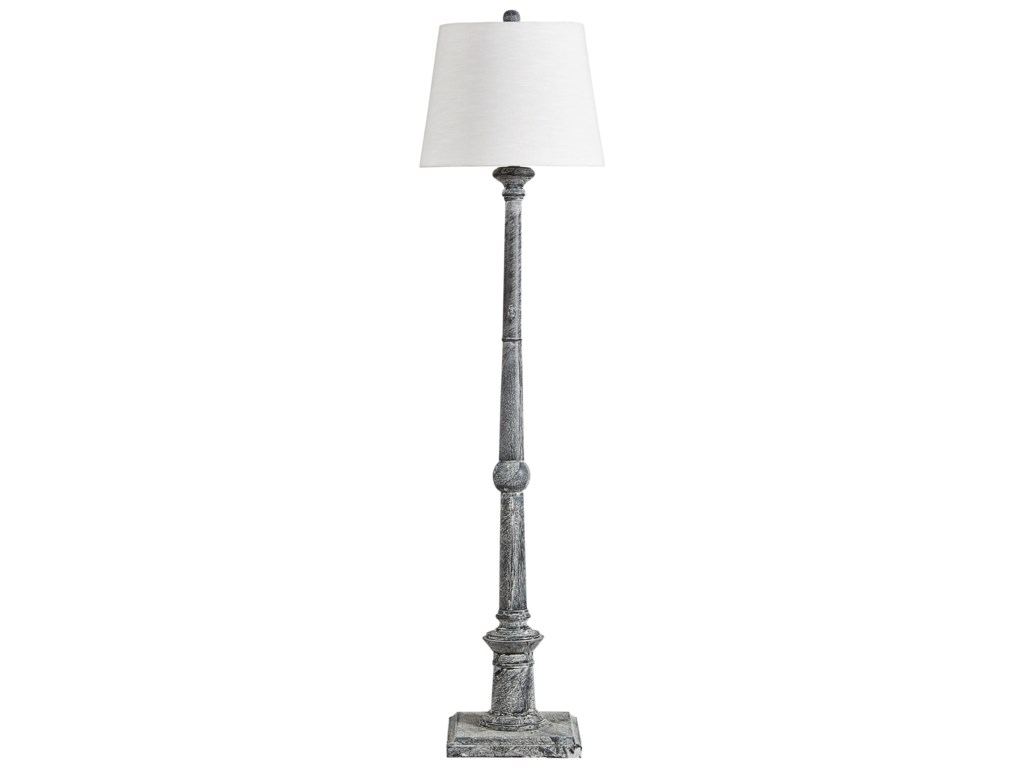 Signature Design by Ashley Lamps - Vintage StyleZimba Antique Gray Wood Floor Lamp