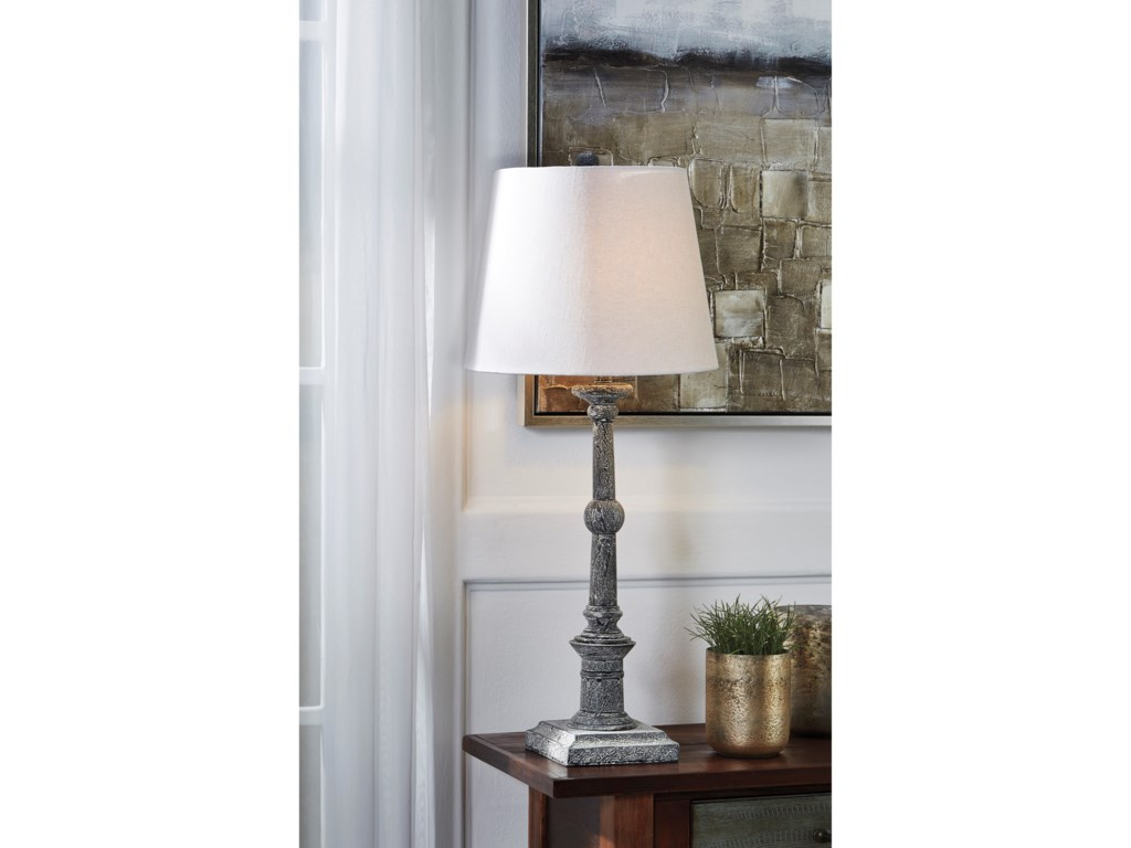 Signature Design by Ashley Lamps - Vintage StyleSet of 2 Zimba Antique Gray Wood Table Lamps