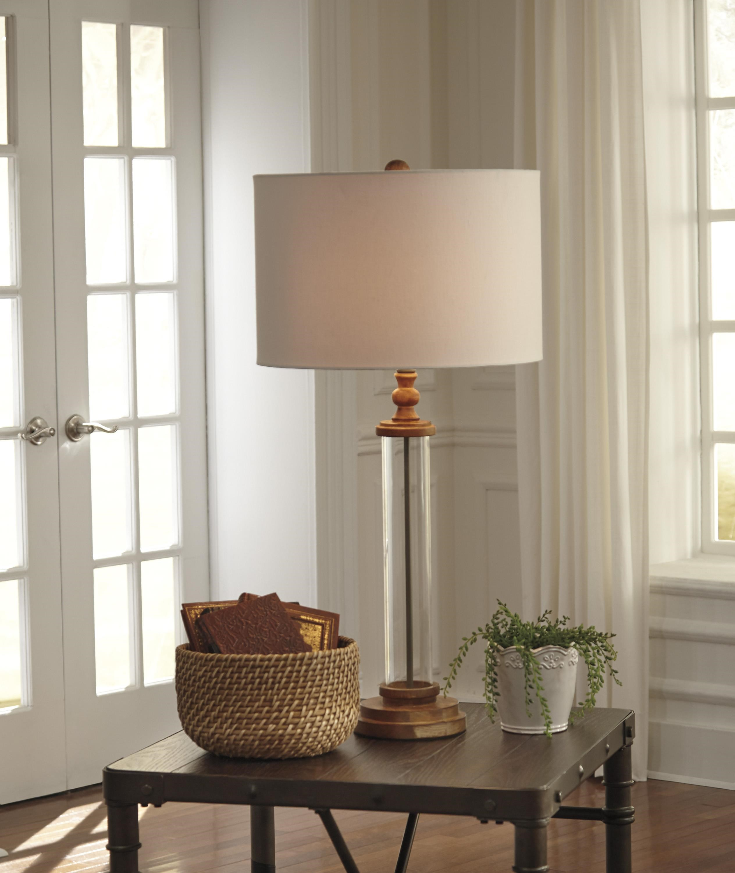 ... Signature Design By Ashley Lamps   Vintage StyleTabby Glass Table Lamp