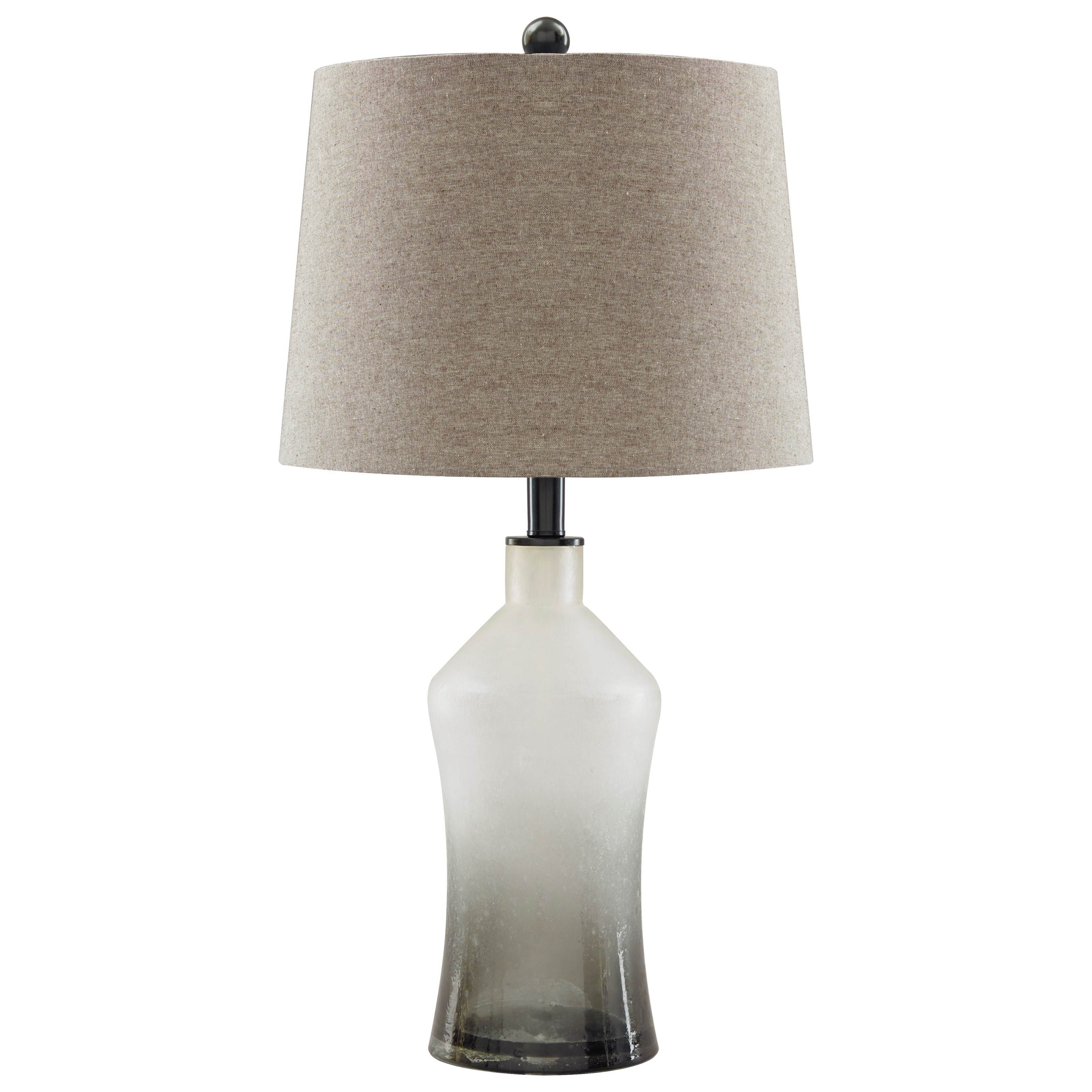 Signature Design By Ashley Lamps   Vintage Style Set Of 2 Nollie Gray Glass Table  Lamps