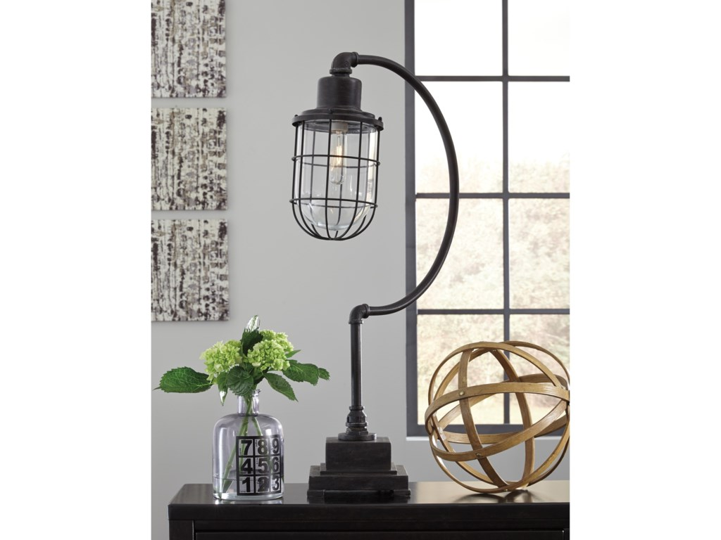 Signature Design by Ashley Lamps - Vintage StyleJae Antique Black Metal Desk Lamp