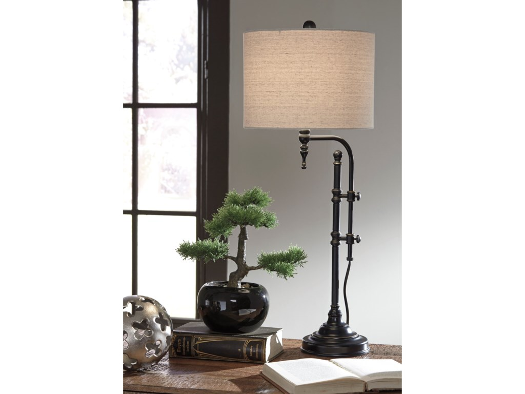 Signature Design by Ashley Lamps - Vintage StyleAnemoon Black Metal Table Lamp