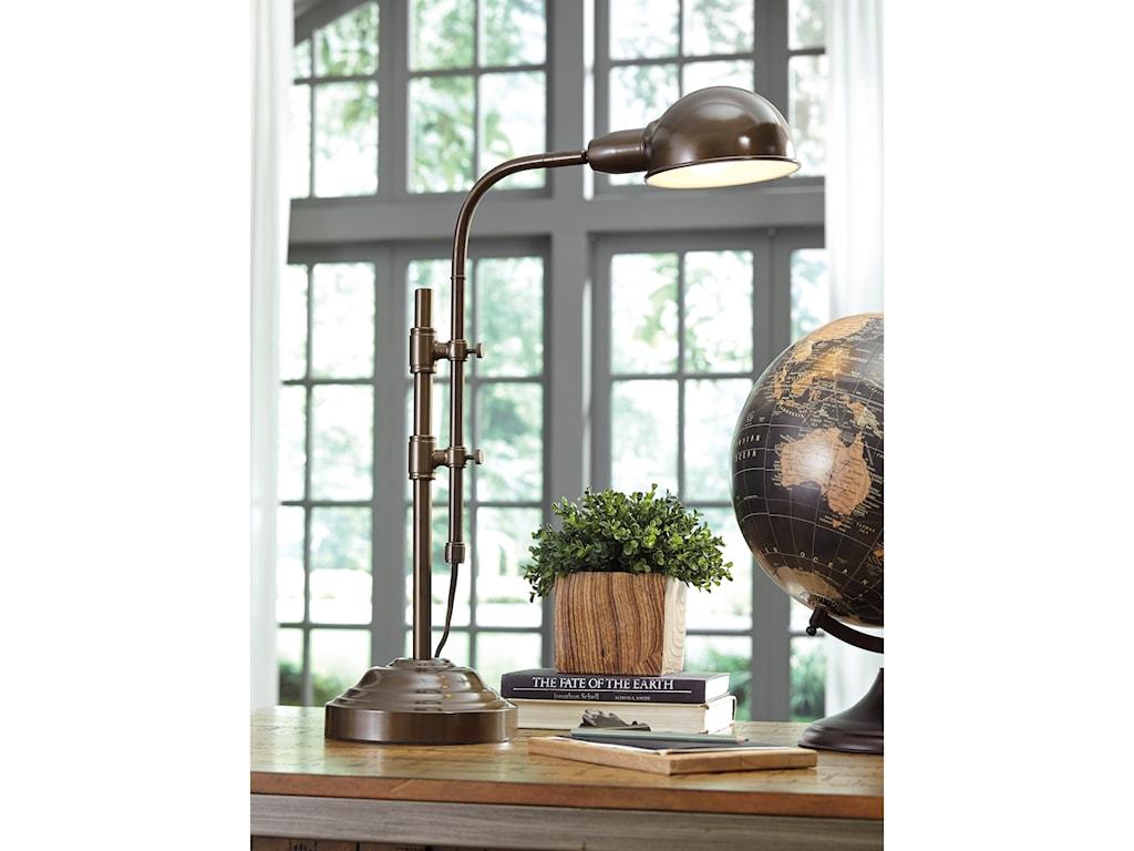 Signature Design by Ashley Lamps - Vintage StyleMaaike Bronze Finish Metal Desk Lamp
