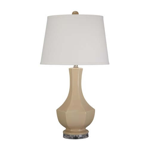 Signature Design by Ashley Lamps - Traditional Classics Suellen Beige Ceramic Table Lamp