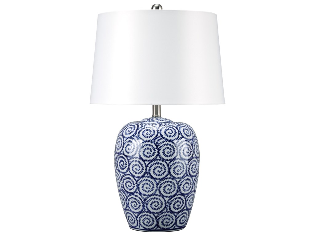 Signature Design by Ashley Lamps - Traditional ClassicsMailini White/Blue Ceramic Table Lamp