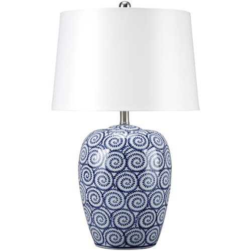 Signature Design by Ashley Lamps - Traditional Classics Mailini White/Blue Ceramic Table Lamp