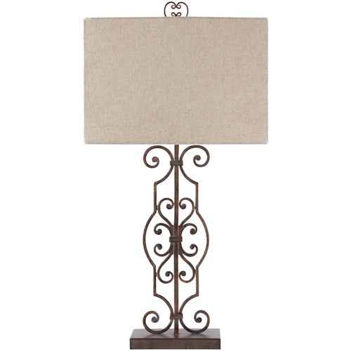 Signature Design by Ashley Lamps - Traditional Classics Calidora Antique Copper Finish Metal Table Lamp