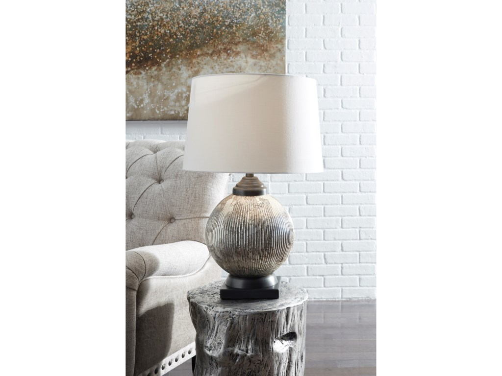 Signature Design by Ashley Lamps - Traditional ClassicsCailan Silver/Bronze Finish Glass Table Lamp