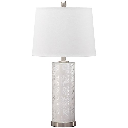 Signature Design by Ashley Lamps - Traditional Classics Set of 2 Nichole Silver Finish Mercury Glass Table Lamps