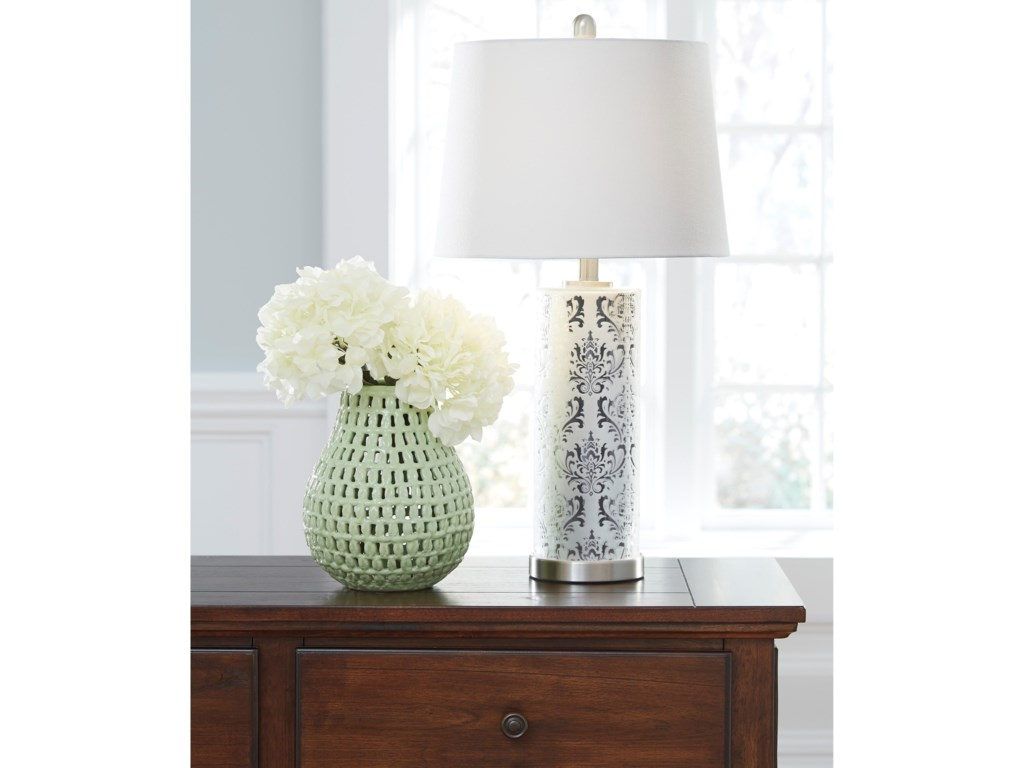 Signature Design by Ashley Lamps - Traditional ClassicsSet of 2 Nichole Glass Table Lamps