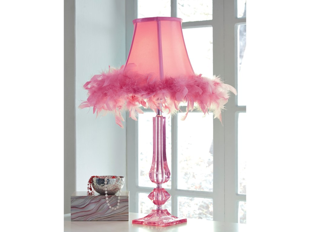 Signature Design by Ashley Lamps - YouthAuren Pink Acrylic Table Lamp