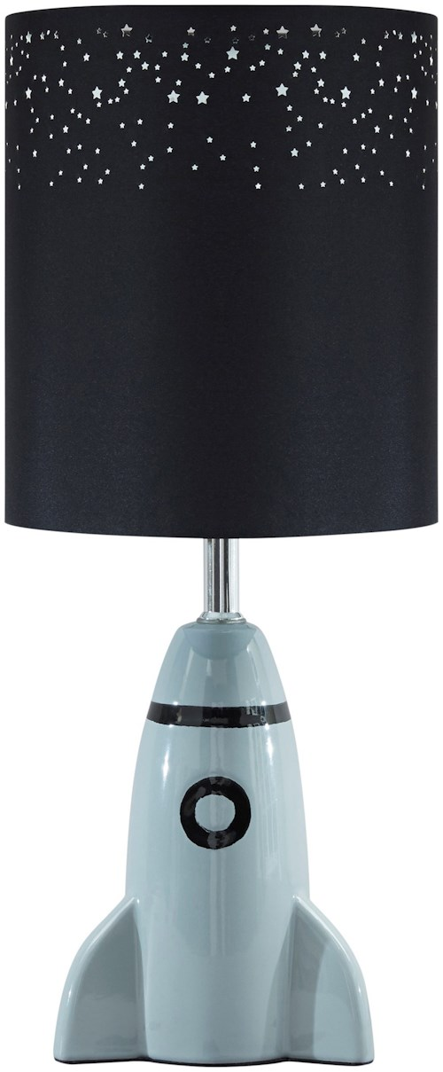 Signature Design by Ashley Lamps - Youth Cale Gray/Black Ceramic Table Lamp